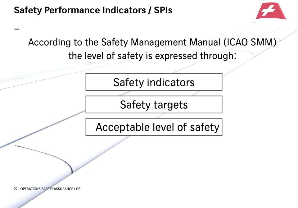 is expressed through: Safety indicators Safety targets