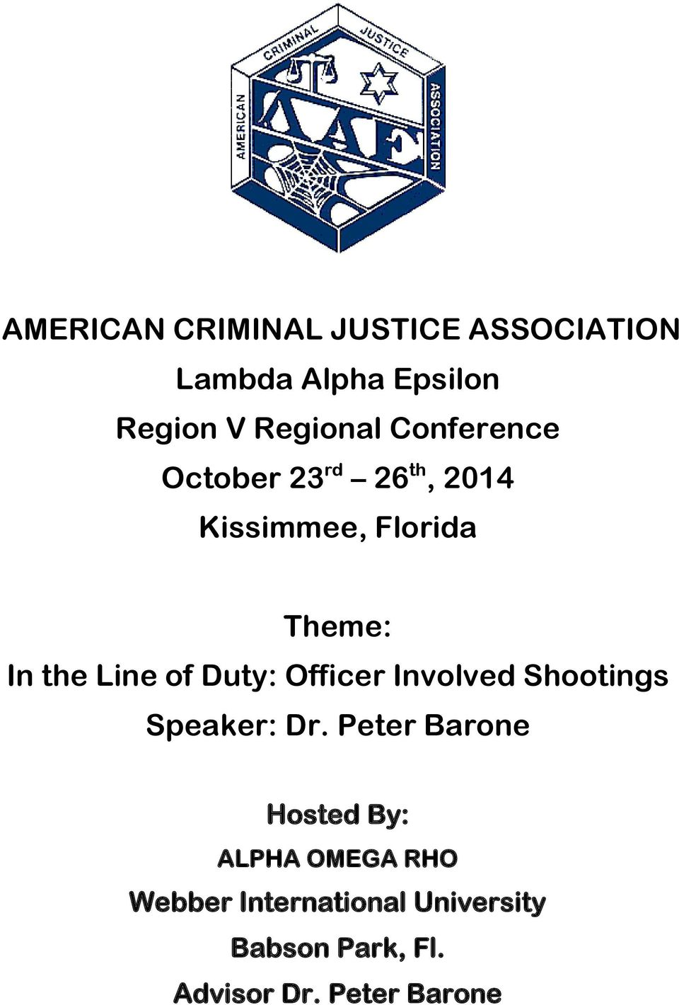 Duty: Officer Involved Shootings Speaker: Dr.
