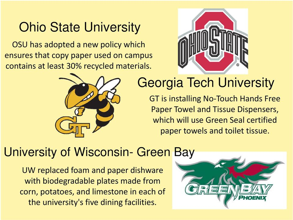 University of Wisconsin- Green Bay UW replaced foam and paper dishware with biodegradable plates made from corn, potatoes,