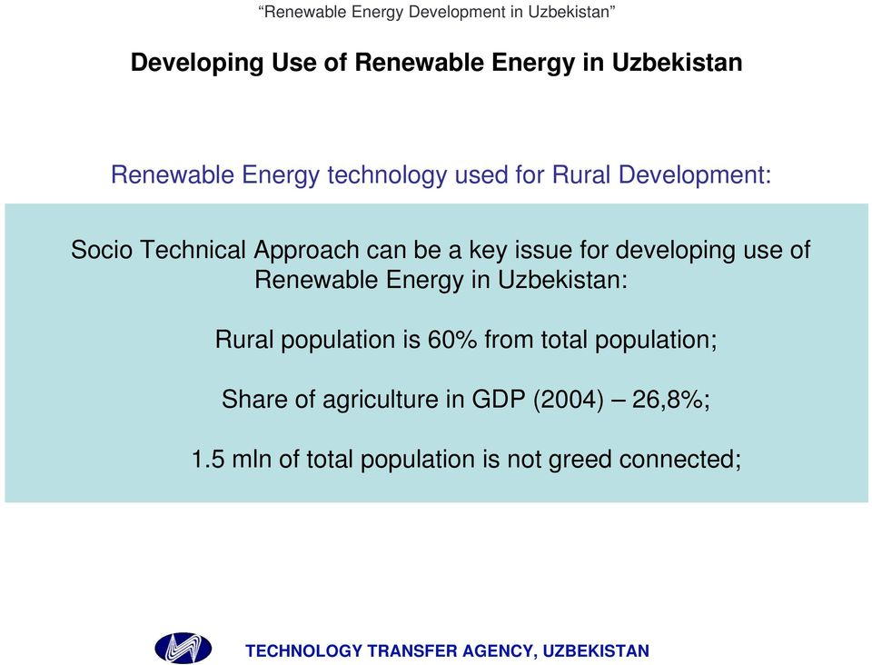 Renewable Energy in Uzbekistan: Rural population is 60% from total population; Share