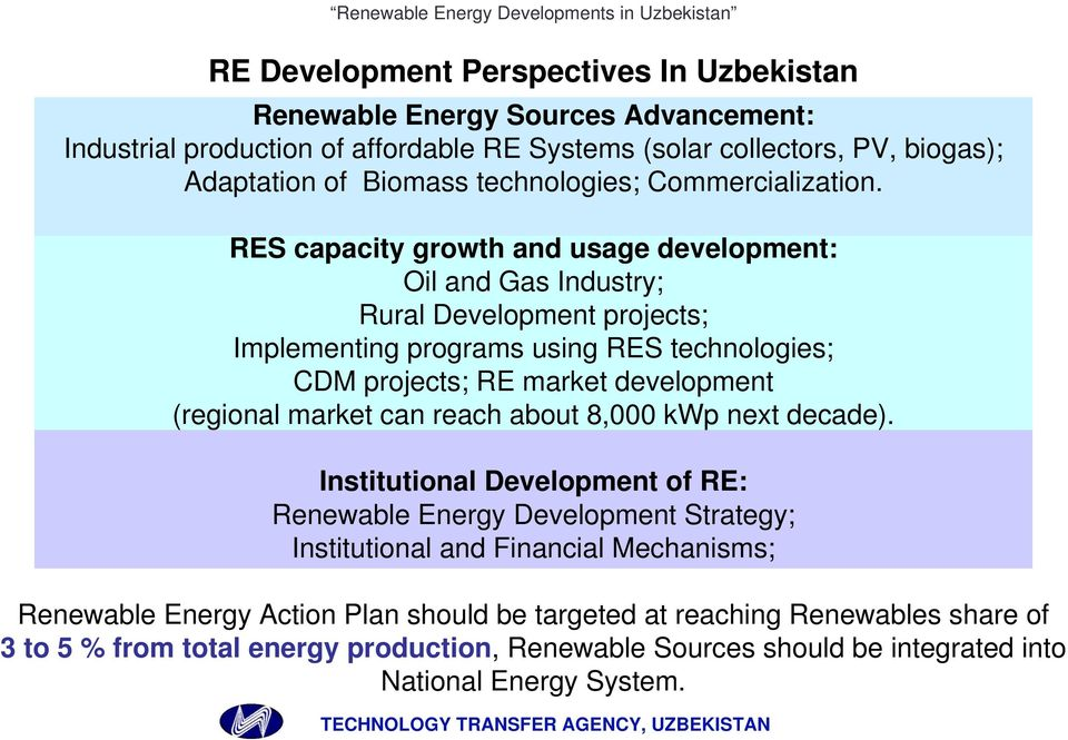RES capacity growth and usage development: Oil and Gas Industry; Rural Development projects; Implementing programs using RES technologies; CDM projects; RE market development (regional market can
