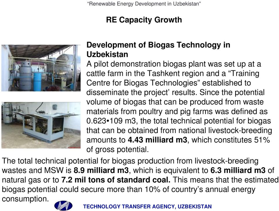 623 109 m3, the total technical potential for biogas that can be obtained from national livestock-breeding amounts to 4.43 milliard m3, which constitutes 51% of gross potential.