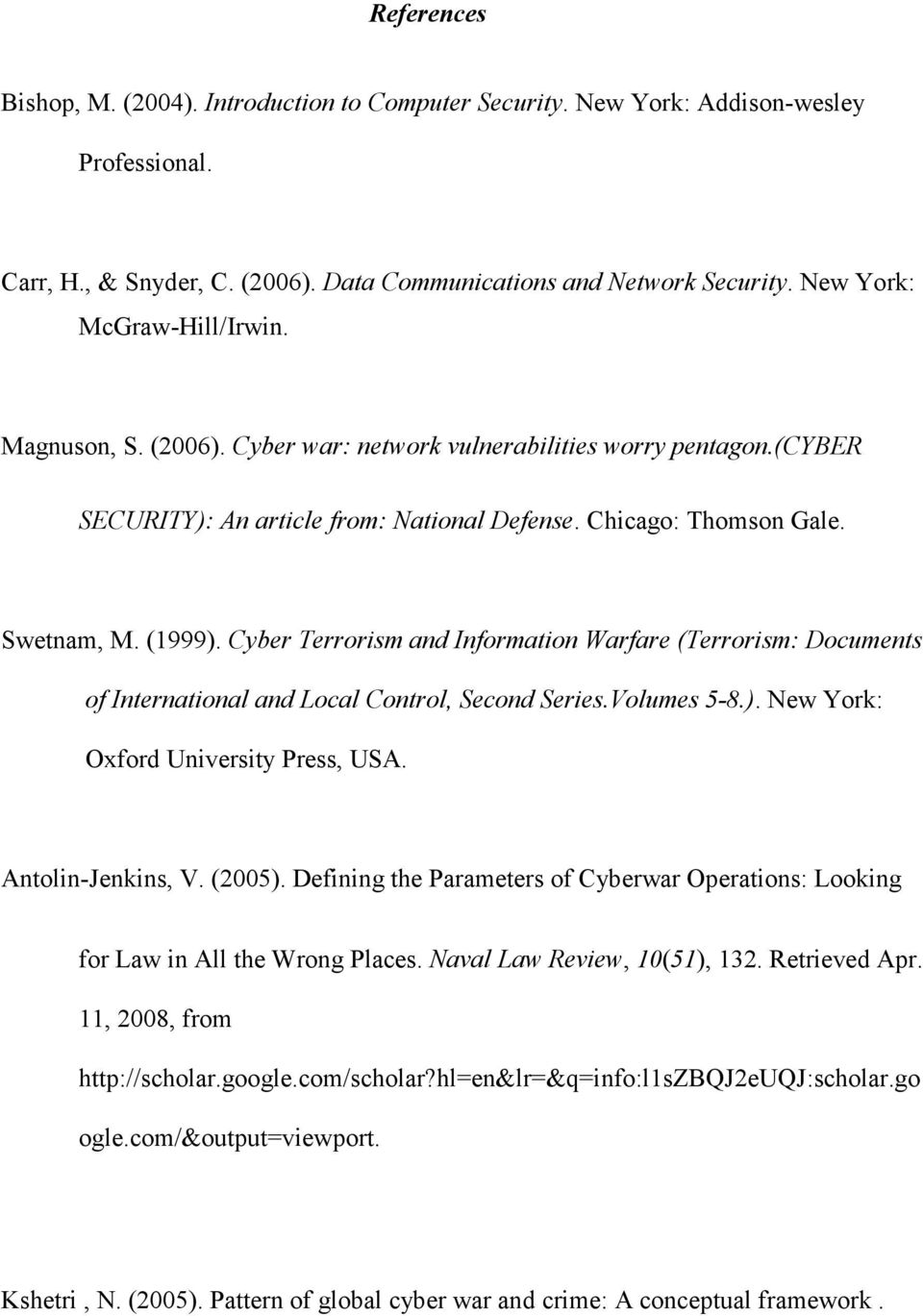 Cyber Terrorism and Information Warfare (Terrorism: Documents of International and Local Control, Second Series.Volumes 5-8.). New York: Oxford University Press, USA. Antolin-Jenkins, V. (2005).