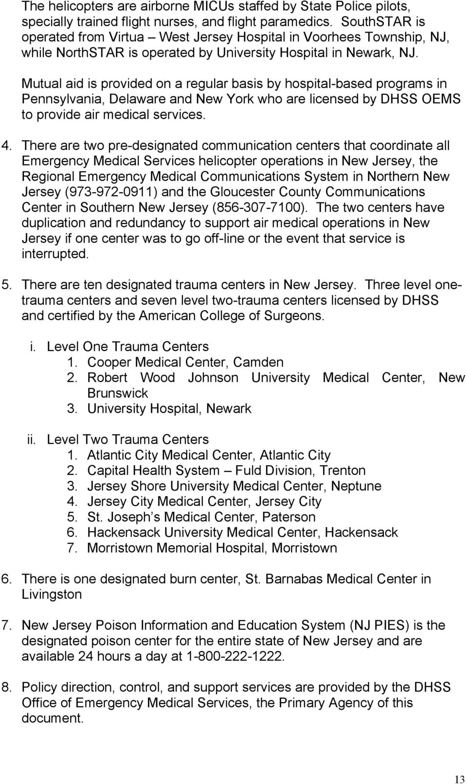 STATE OF NEW JERSEY EMERGENCY OPERATIONS and RESPONSE PLAN EMERGENCY