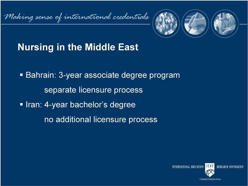 separate licensure process Iran: 4-year