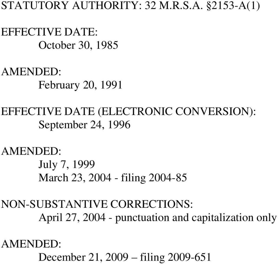 AMENDED: July 7, 1999 March 23, 2004 - filing 2004-85 NON-SUBSTANTIVE CORRECTIONS: