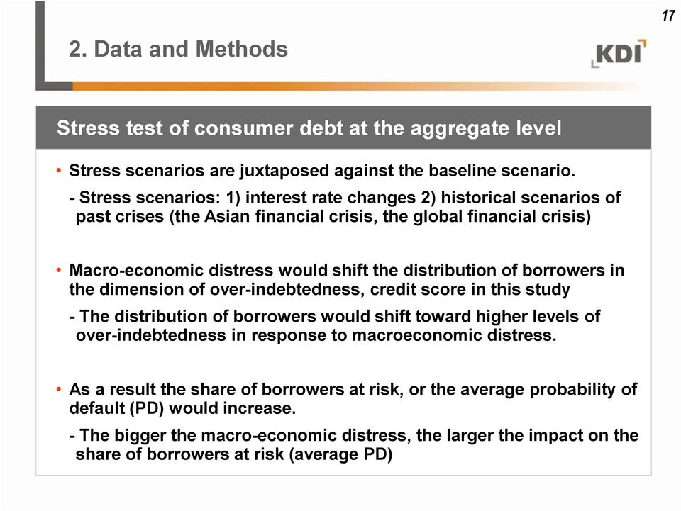 distribution of borrowers in the dimension of over-indebtedness, credit score in this study - The distribution of borrowers would shift toward higher levels of over-indebtedness in