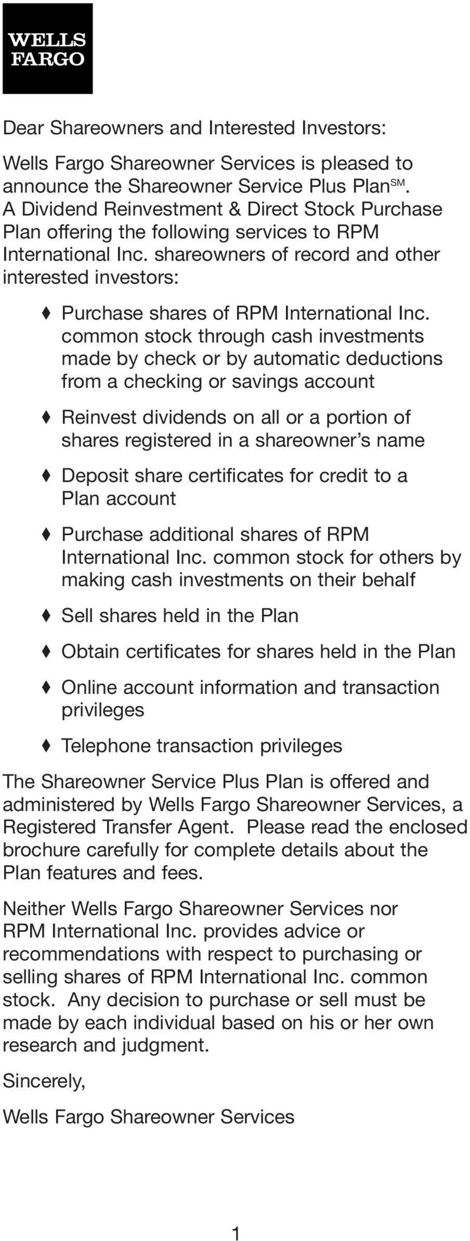 shareowners of record and other interested investors: Purchase shares of RPM International Inc.