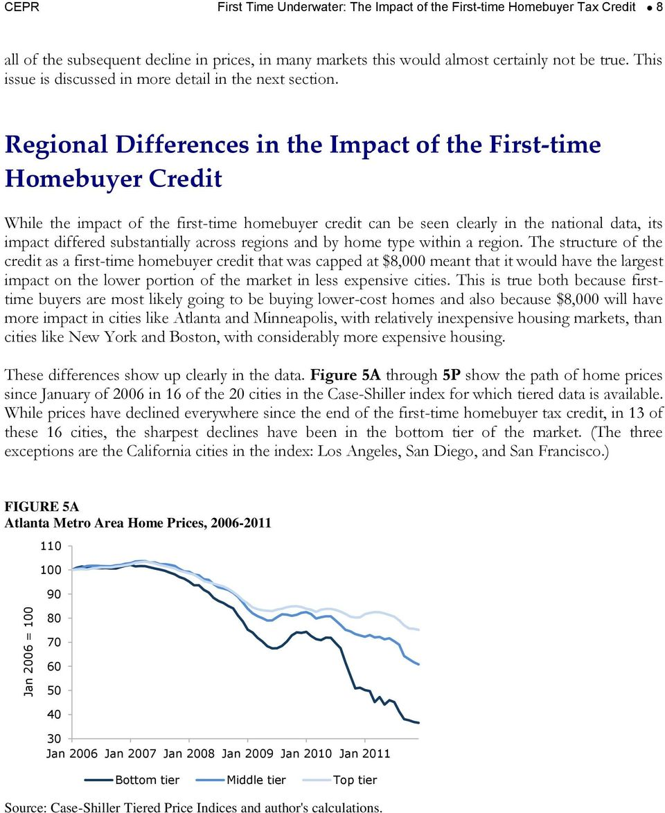 Regional Differences in the Impact of the First-time Homebuyer Credit While the impact of the first-time homebuyer credit can be seen clearly in the national data, its impact differed substantially