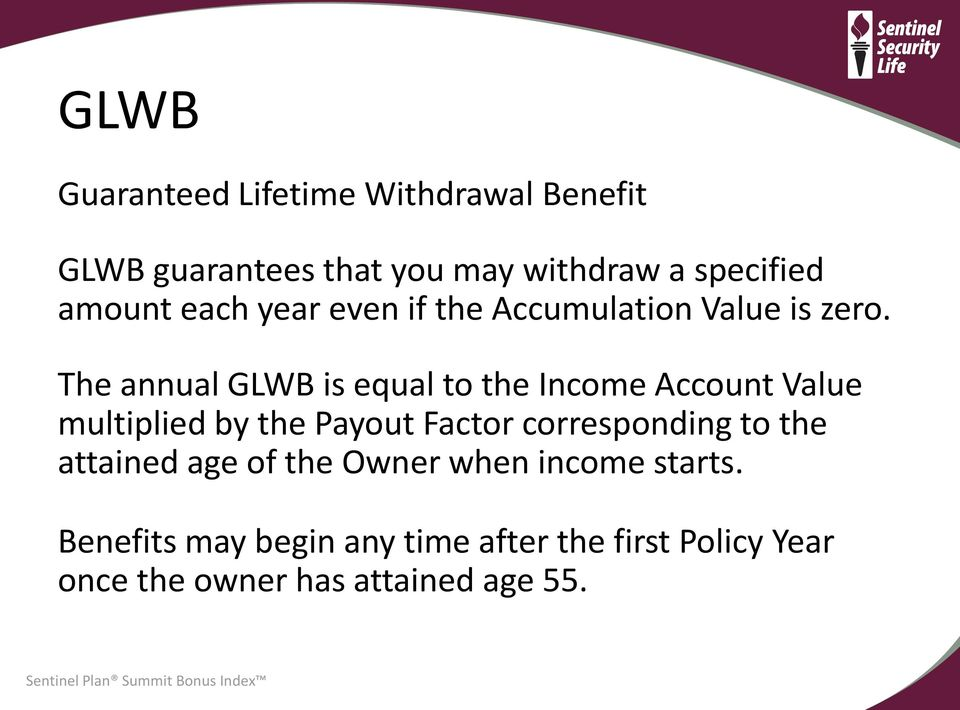 The annual GLWB is equal to the Income Account Value multiplied by the Payout Factor corresponding