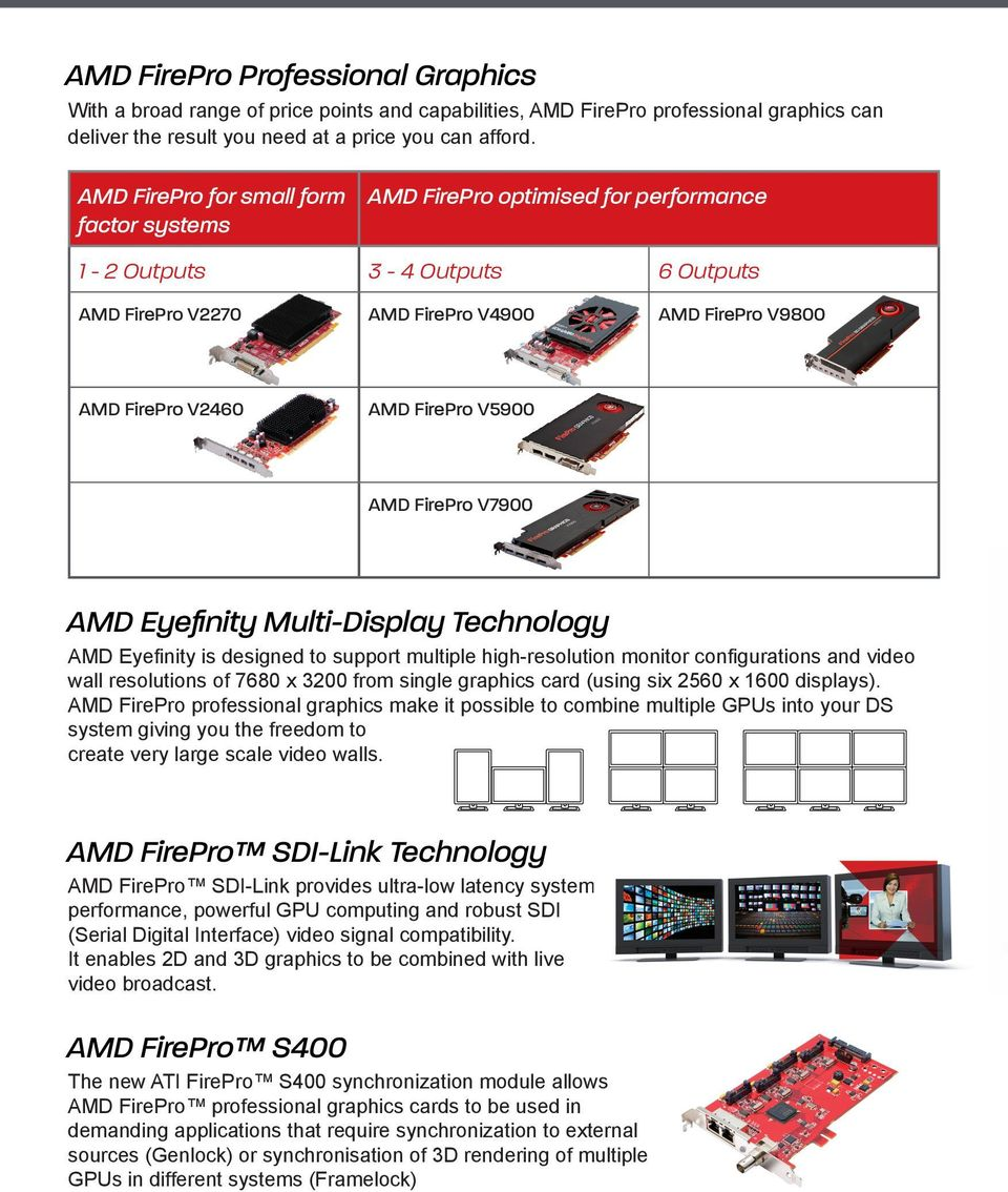 V5900 AMD FirePro V7900 AMD Eyefinity Multi-Display Technology AMD Eyefinity is designed to support multiple high-resolution monitor configurations and video wall resolutions of 7680 x 3200 from