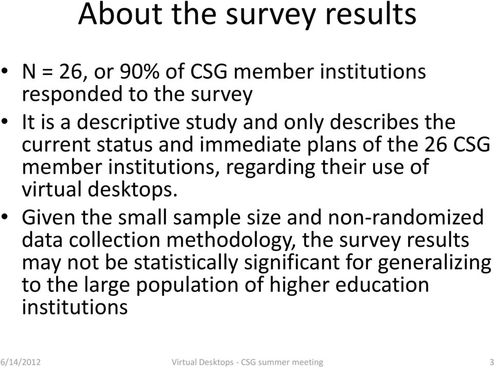 Given the small sample size and non randomized data collection methodology, the survey results may not be statistically