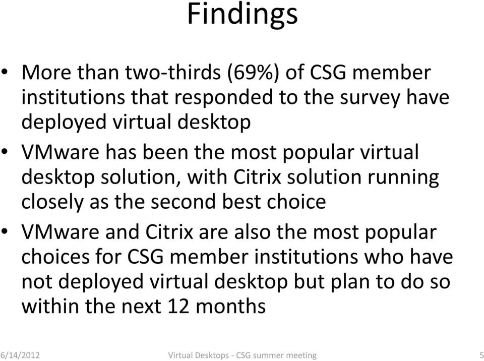 second best choice VMware and Citrix are also the most popular choices for CSG member institutions who have not