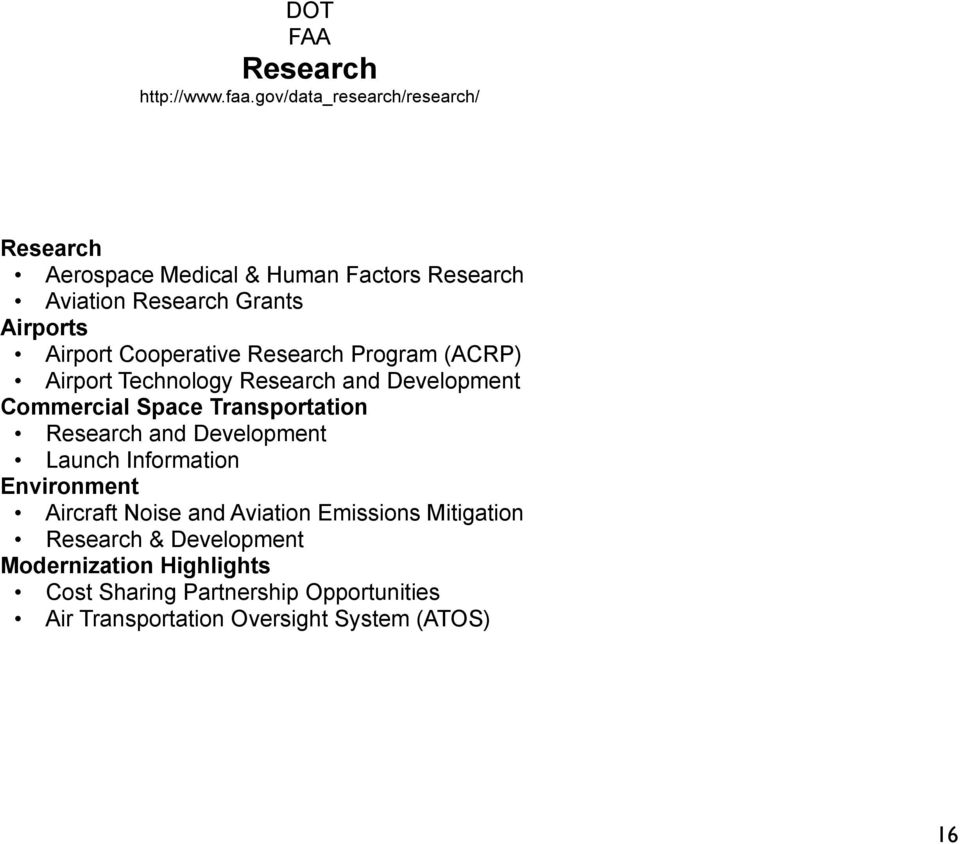 Cooperative Research Program (ACRP) Airport Technology Research and Development Commercial Space Transportation Research and