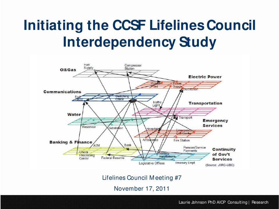 Disaster Recovery Interdependency Study Lifelines