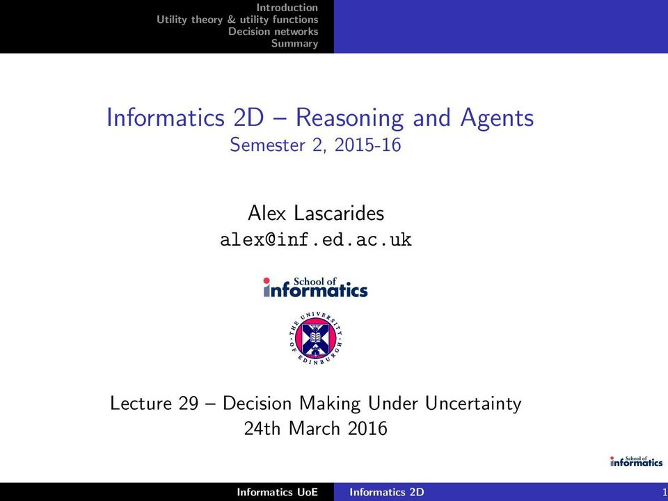 uk Lecture 29 Decision Making Under