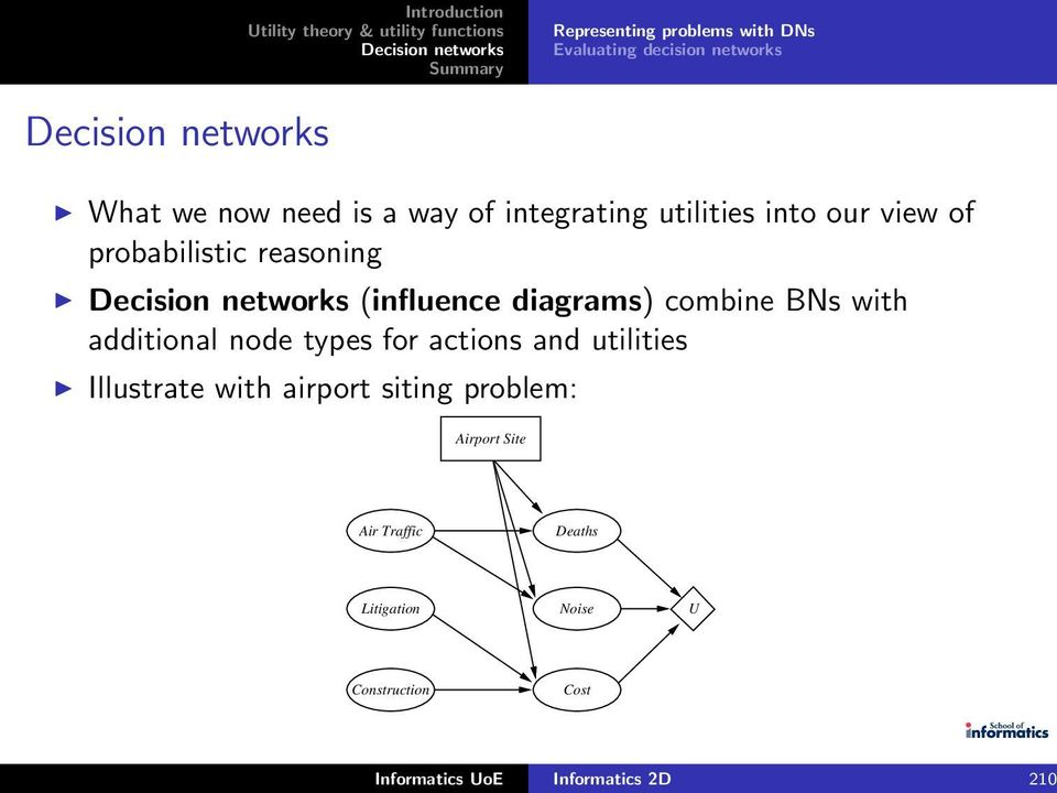 with additional node types for actions and utilities Illustrate with airport siting problem: