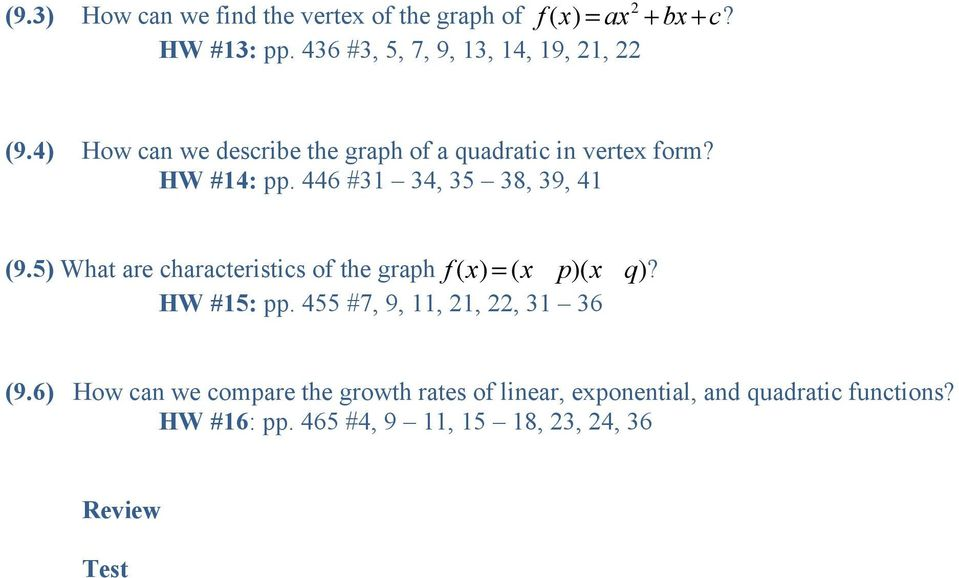 446 #31 34, 35 38, 39, 41 (9.5) What are characteristics of the graph f (x) = (x - p)(x -q)? HW #15: pp.