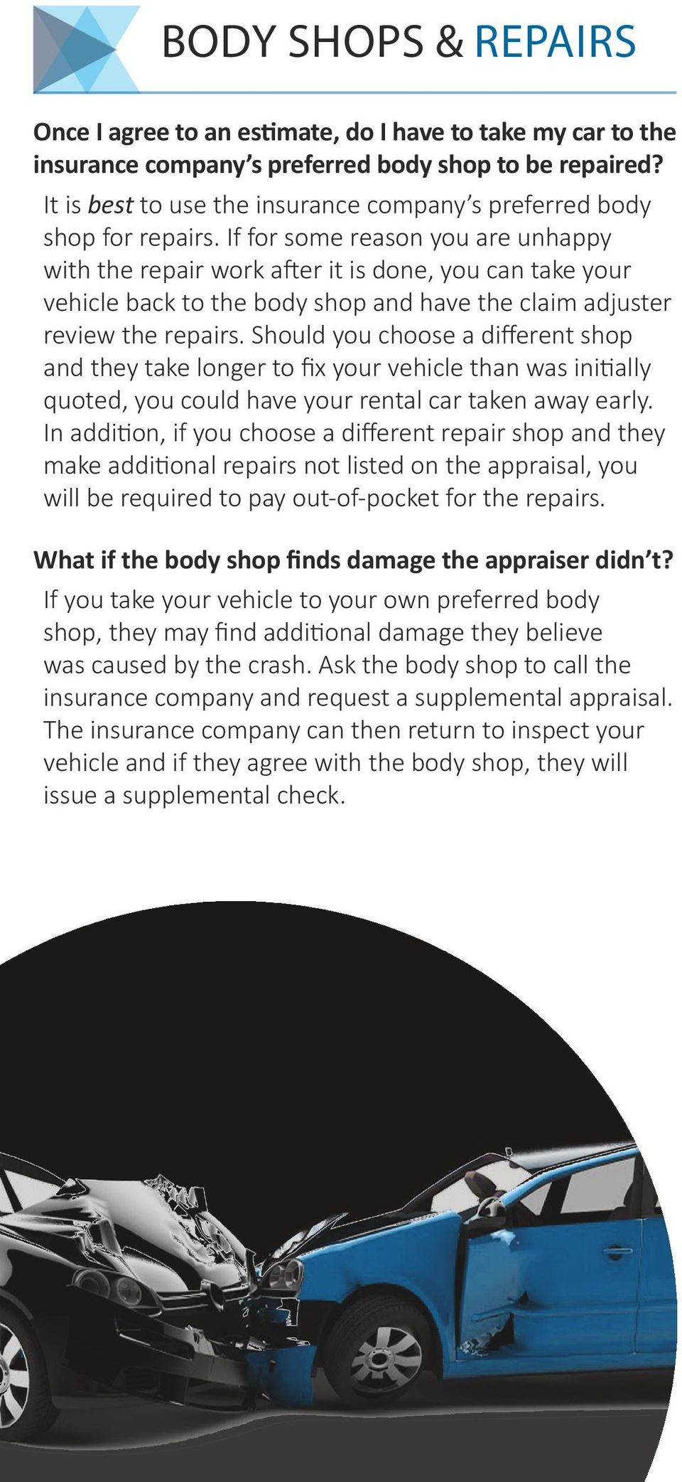 If for some reason you are unhappy with the repair work after it is done, you can take your vehicle back to the body shop and have the claim adjuster review the repairs.