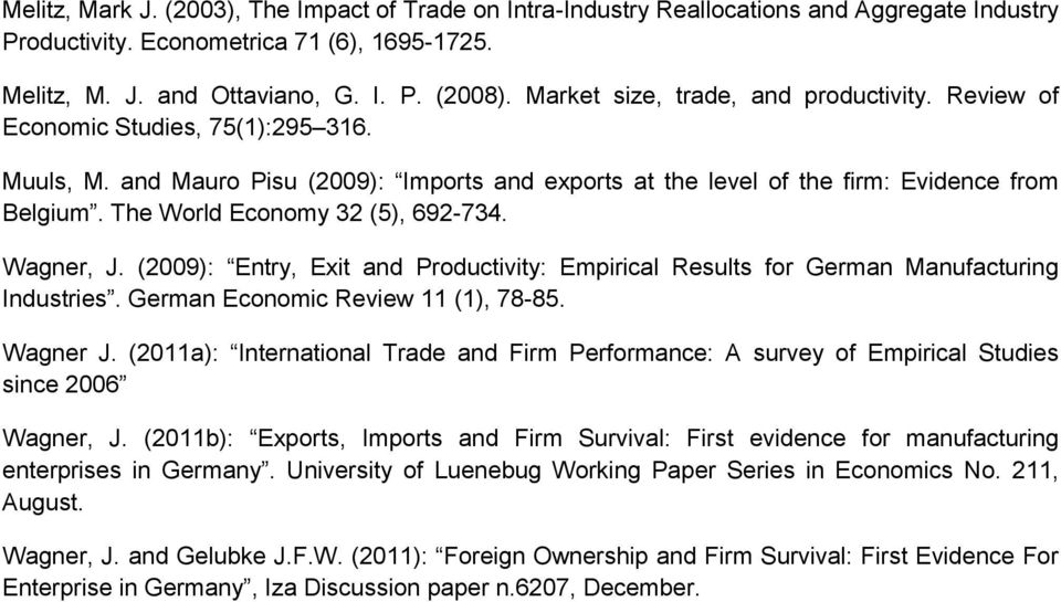 The World Economy 32 (5), 692-734. Wagner, J. (2009): Entry, Exit and Productivity: Empirical Results for German Manufacturing Industries. German Economic Review 11 (1), 78-85. Wagner J.