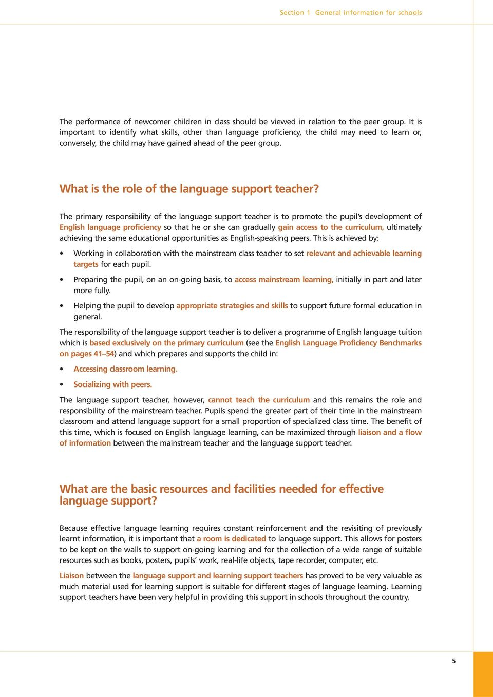What is the role of the language support teacher?