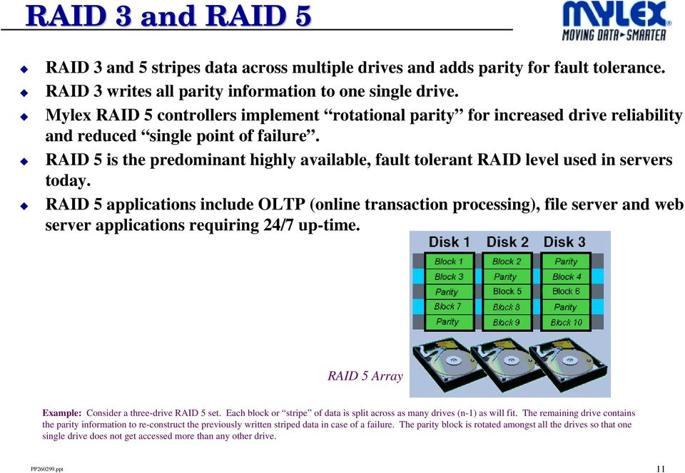 RAID 5 is the predominant highly available, fault tolerant RAID level used in servers today.