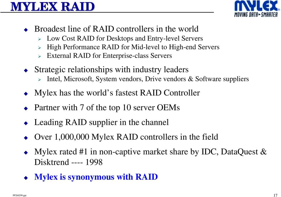 & Software suppliers Mylex has the world s fastest RAID Controller Partner with 7 of the top 10 server OEMs Leading RAID supplier in the channel Over