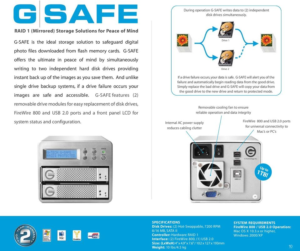 G-SAFE offers the ultimate in peace of mind by simultaneously writing to two independent hard disk drives providing instant back up of the images as you save them.