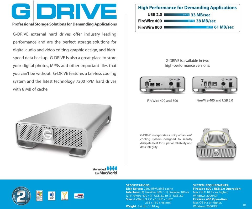G-DRIVE features a fan-less cooling system and the latest technology 7200 RPM hard drives with 8 MB of cache.