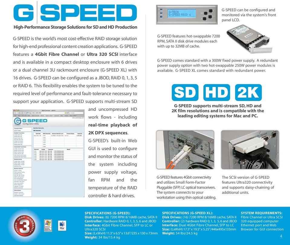 G-SPEED can be configured as a JBOD, RAID 0, 1, 3, 5 or RAID 6.