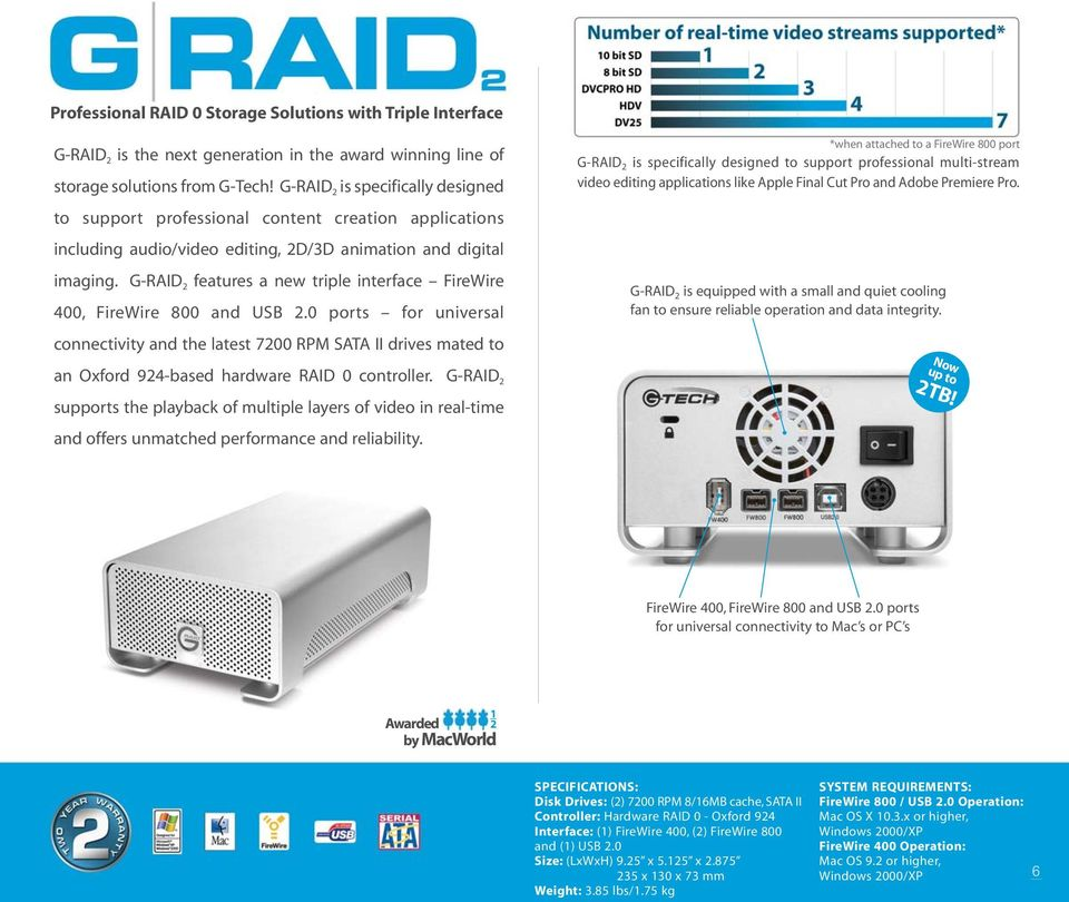 G-RAID 2 features a new triple interface FireWire 400, FireWire 800 and USB 2.