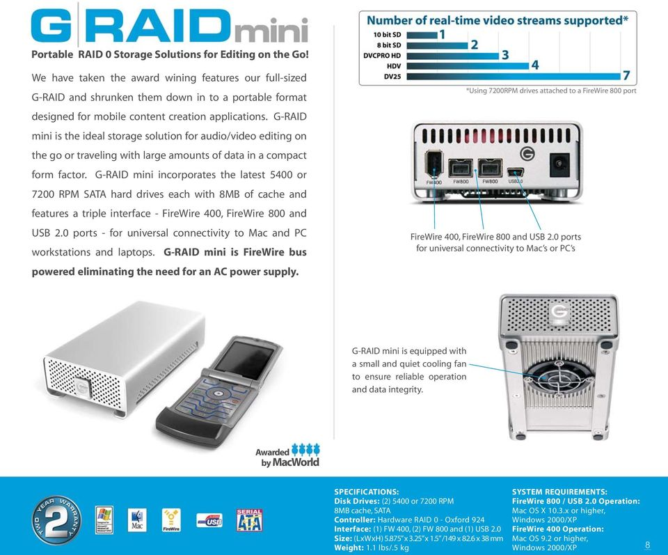 G-RAID mini is the ideal storage solution for audio/video editing on the go or traveling with large amounts of data in a compact form factor.