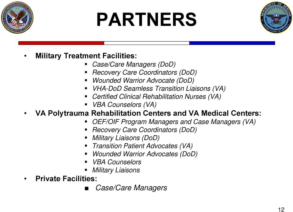 Rehabilitation Centers and VA Medical Centers: OEF/OIF Program Managers and Case Managers (VA) Recovery Care Coordinators (DoD)