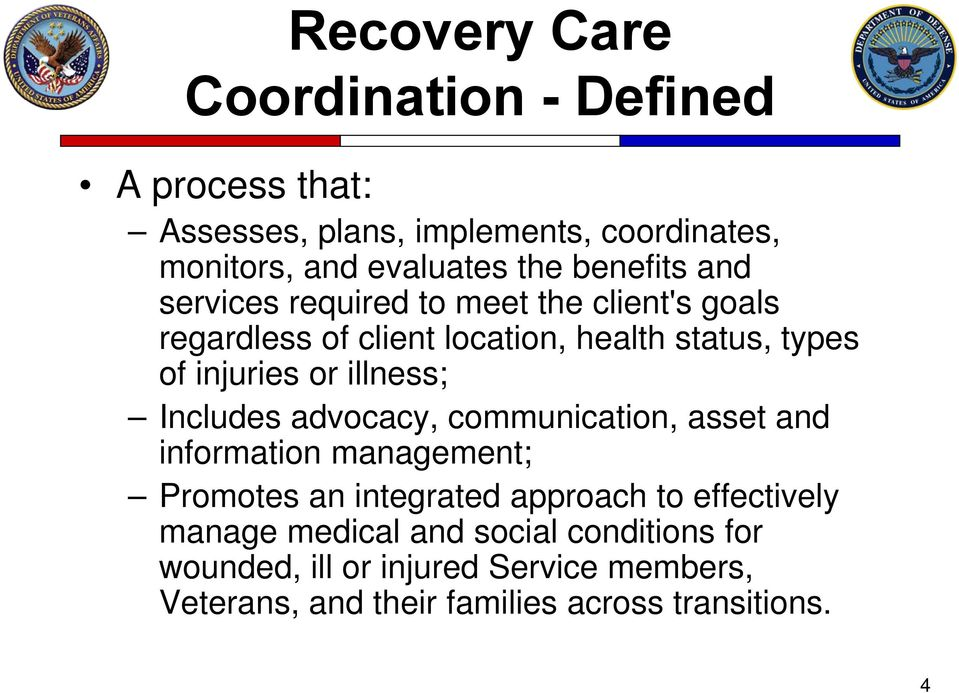 illness; Includes advocacy, communication, asset and information management; Promotes an integrated approach to effectively