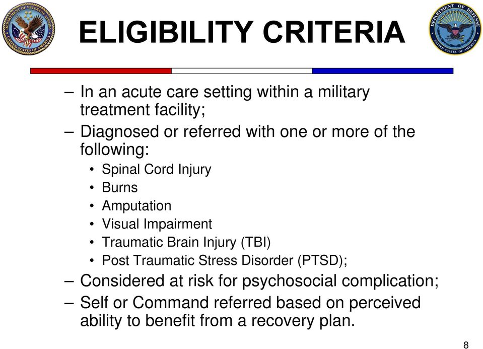 Traumatic Brain Injury (TBI) Post Traumatic Stress Disorder (PTSD); Considered at risk for