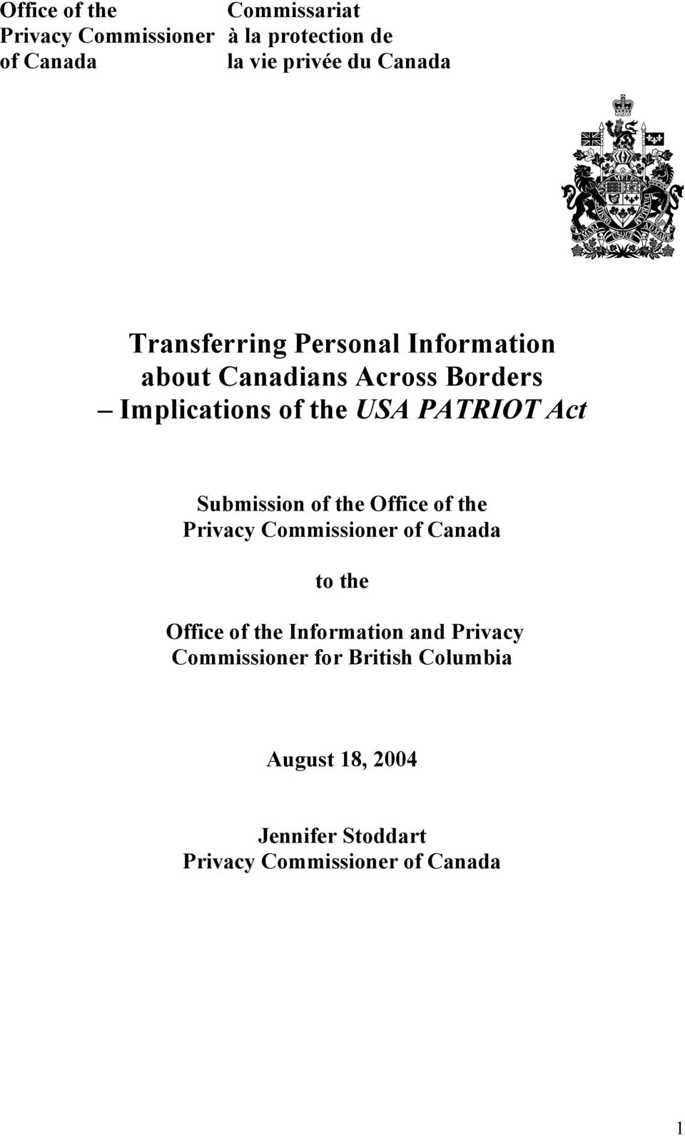 Submission of the Office of the Privacy Commissioner of Canada to the Office of the Information and