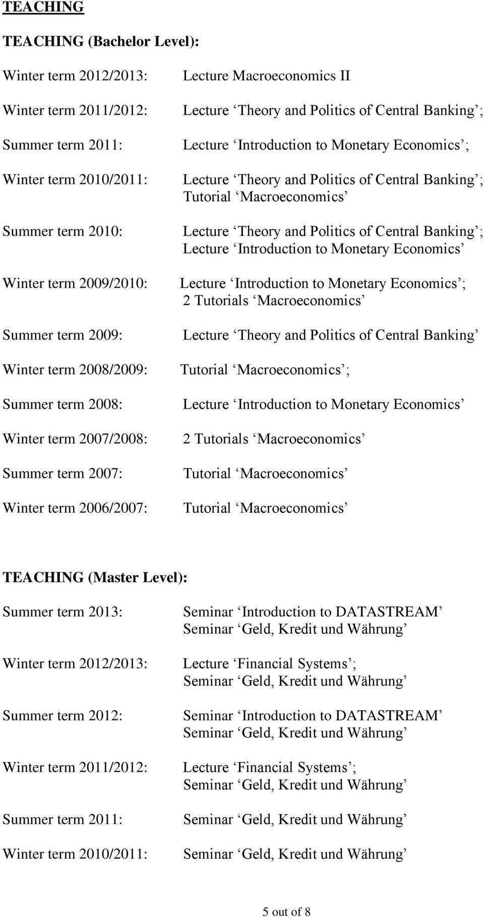 Monetary Economics ; Lecture Theory and Politics of Central Banking ; Tutorial Macroeconomics Lecture Theory and Politics of Central Banking ; Lecture Introduction to Monetary Economics Lecture