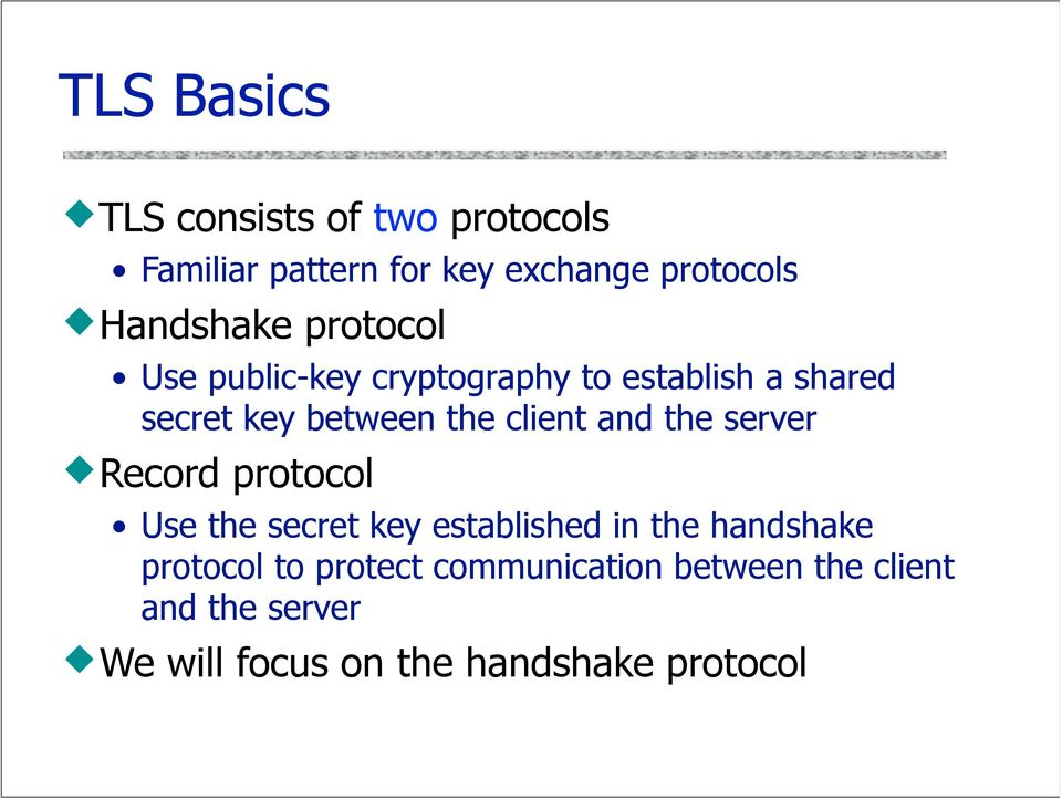 client and the server Record protocol Use the secret key established in the handshake