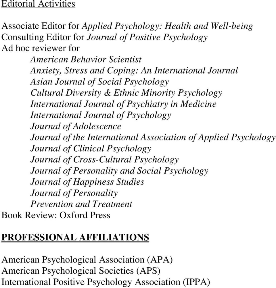 Psychology Journal of Adolescence Journal of the International Association of Applied Psychology Journal of Clinical Psychology Journal of Cross-Cultural Psychology Journal of Personality and Social