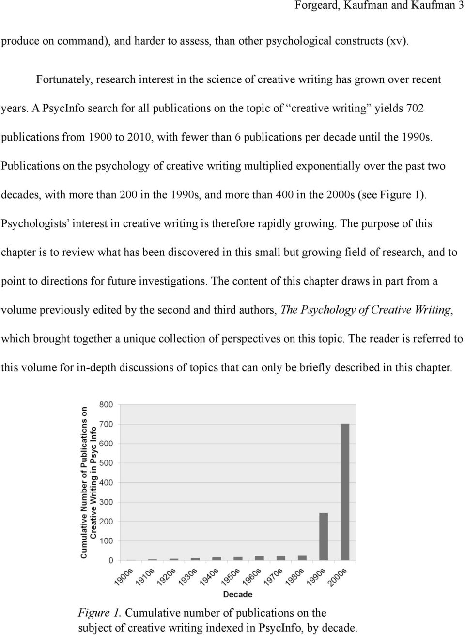 A PsycInfo search for all publications on the topic of creative writing yields 702 publications from 1900 to 2010, with fewer than 6 publications per decade until the 1990s.