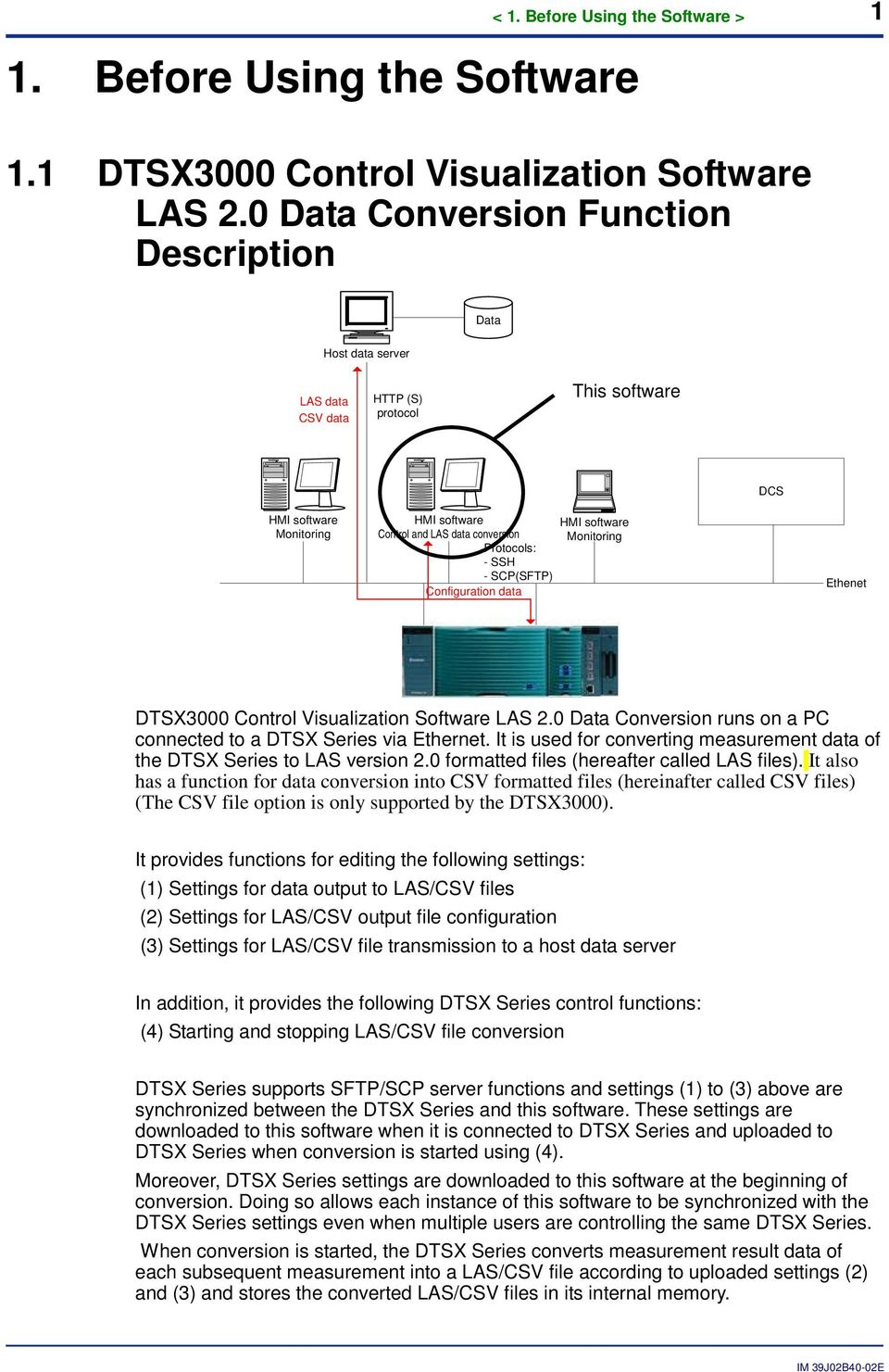 SSH - SCP(SFTP) Configuration data HMI software Monitoring Ethenet DTSX3000 Control Visualization Software LAS 2.0 Data Conversion runs on a PC connected to a DTSX Series via Ethernet.