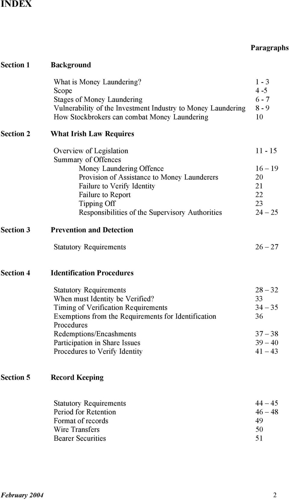 Overview of Legislation 11-15 Summary of Offences Money Laundering Offence 16 19 Provision of Assistance to Money Launderers 20 Failure to Verify Identity 21 Failure to Report 22 Tipping Off 23