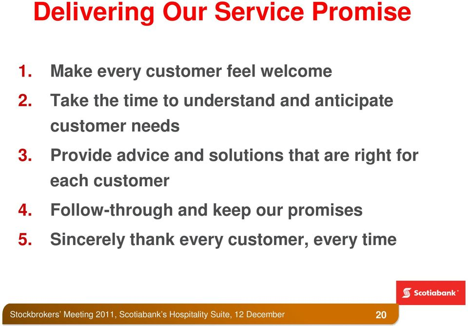 Provide advice and solutions that are right for each customer 4.