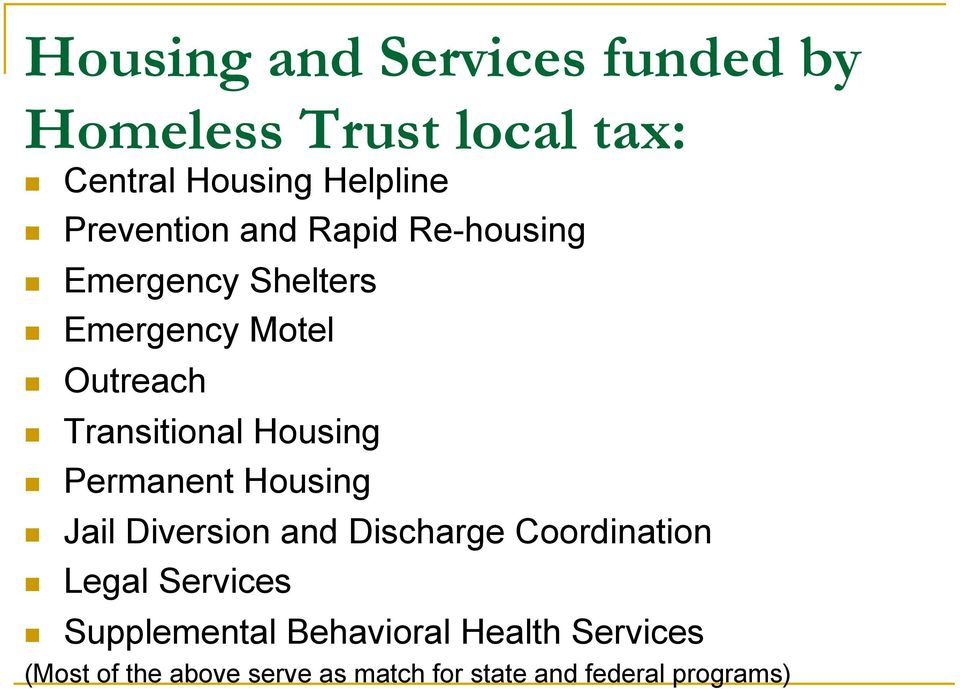 Housing Permanent Housing Jail Diversion and Discharge Coordination Legal Services