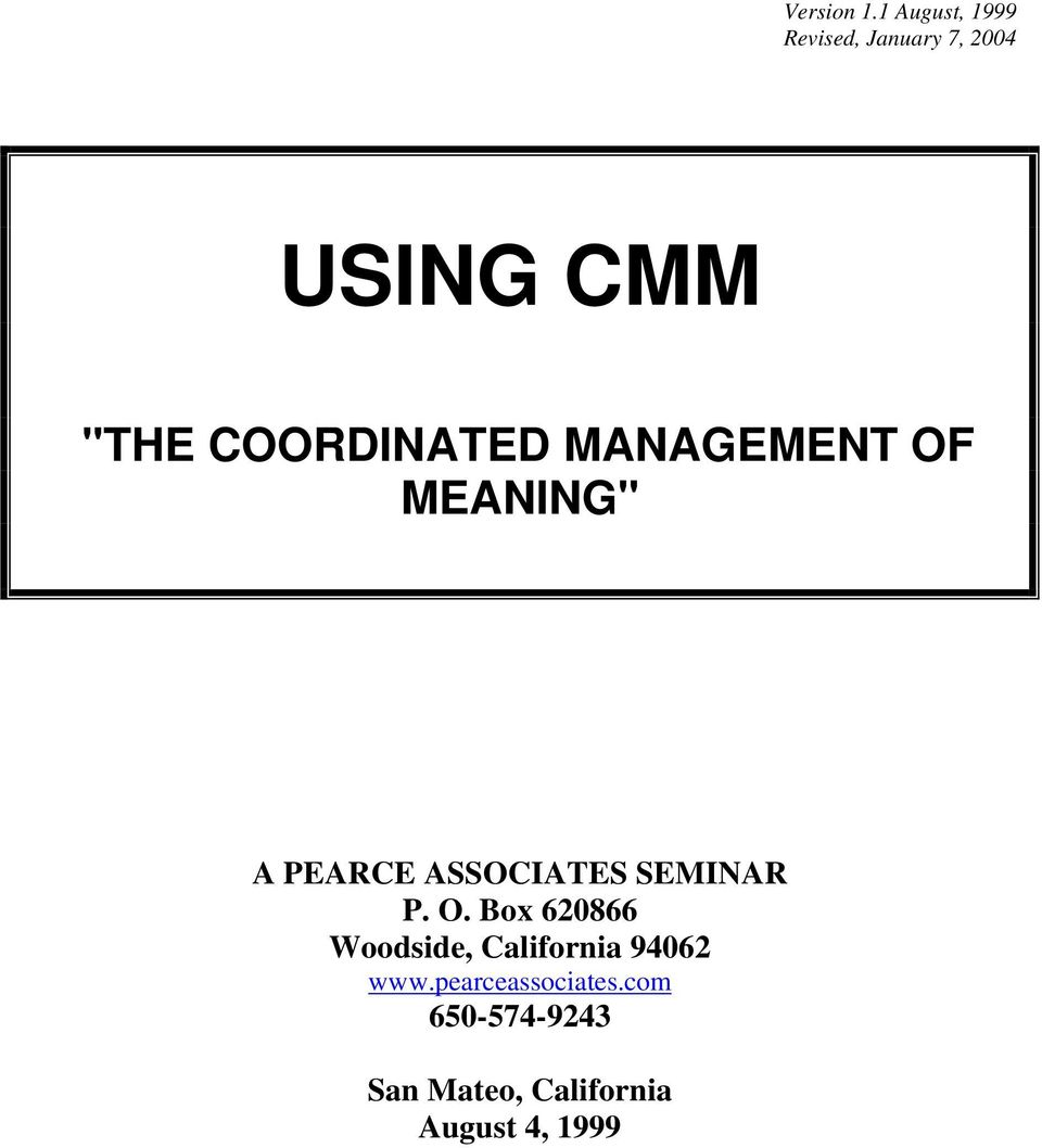 Using Cmm The Coordinated Management Of Meaning Pdf