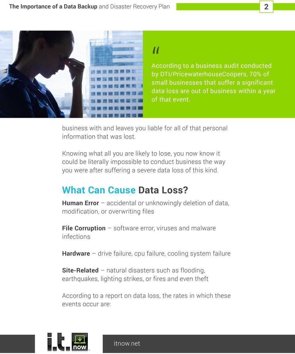 Knowing what all you are likely to lose, you now know it could be literally impossible to conduct business the way you were after suffering a severe data loss of this kind. What Can Cause Data Loss?