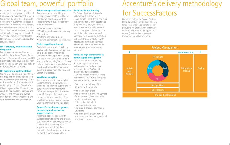 leveraging our network of SuccessFactors delivery centers for North America, Europe and Asia.