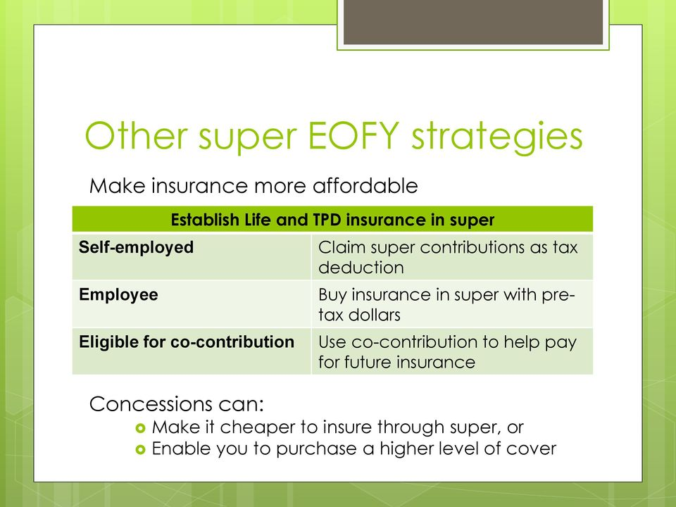Buy insurance in super with pretax dollars Use co-contribution to help pay for future insurance