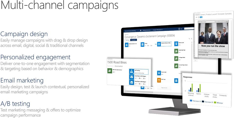 segmentation & targeting based on behavior & demographics Email marketing Easily design, test & launch