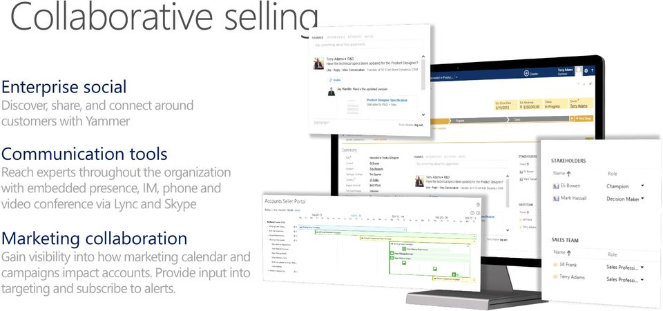 video conference via Lync and Skype Marketing collaboration Gain visibility into how